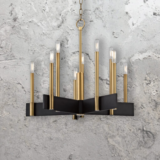 10 Light Minimalist Contemporary Brass Chandelier
