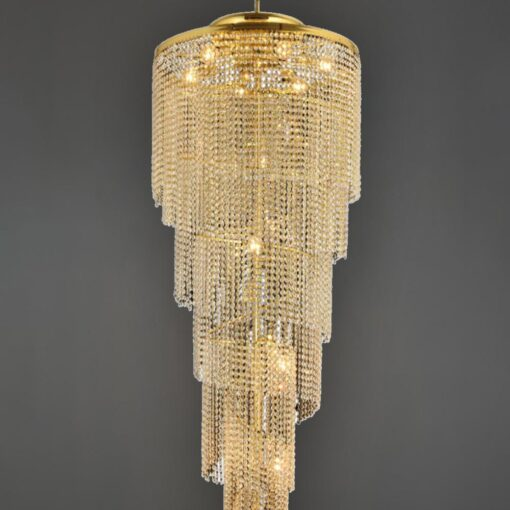 12 Light Brass Large Crystal Drop Feature Chandelier