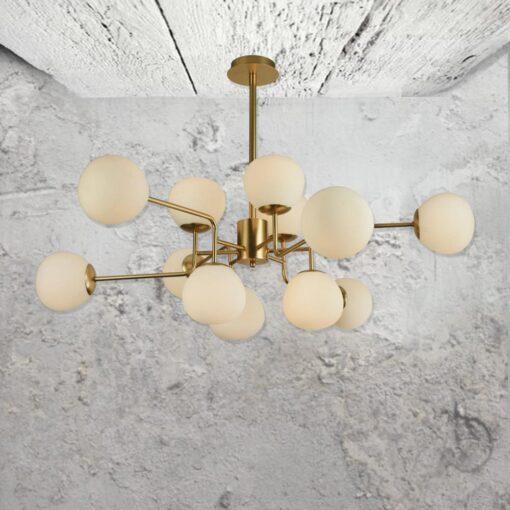 12 Light Opal Globe Chandelier