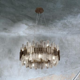 14 Light Gold Glass Ice Chandelier