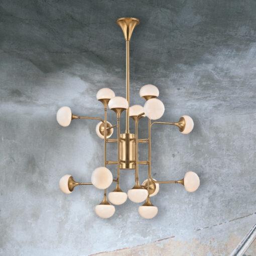 16 Globe Aged Brass Chandelier