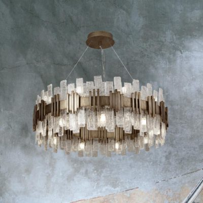 18 Light Gold Glass Ice Chandelier