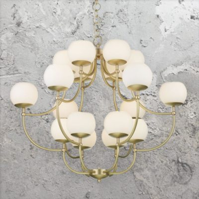 18 Light Satin Brass Chandelier