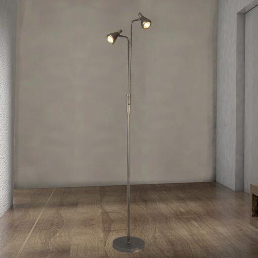 2 Light Antique Silver Floor Lamp