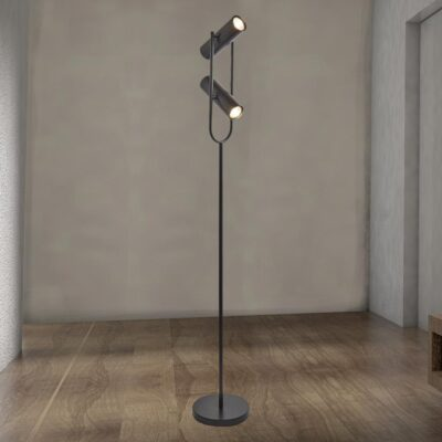 2 Light Black Spotlight Floor Lamp