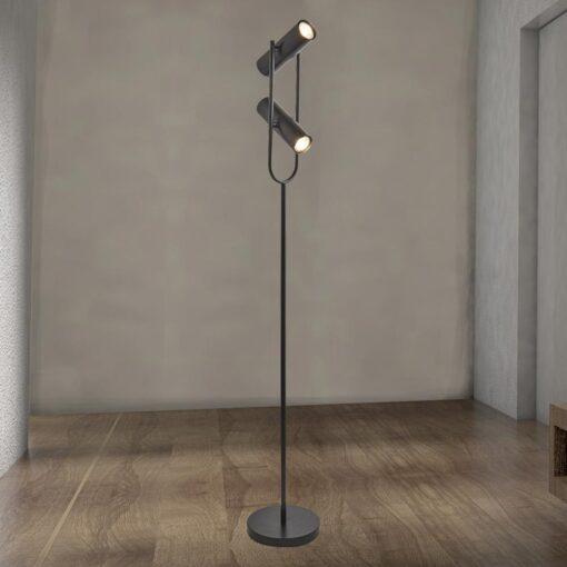 2 Light Black Spotlight Floor Lamp