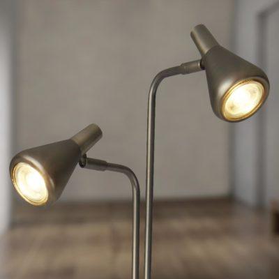 2 Light Silver Floor Lamp