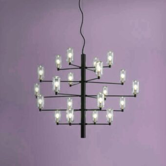 20 Light Black Glass Chandelier