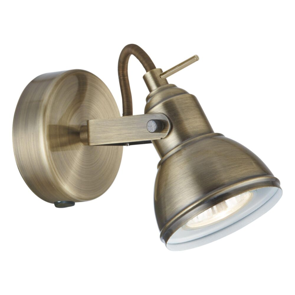 Antique Brass Ribbed Glass Flush Light Flush