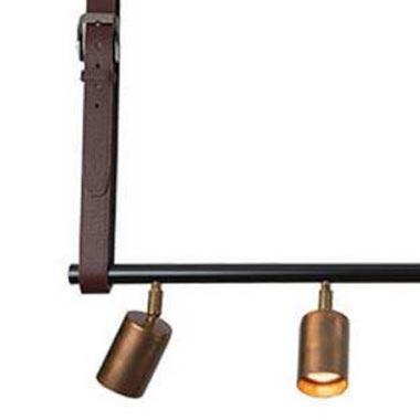 5 Light Spotlight Bar with Leather Straps Pendants