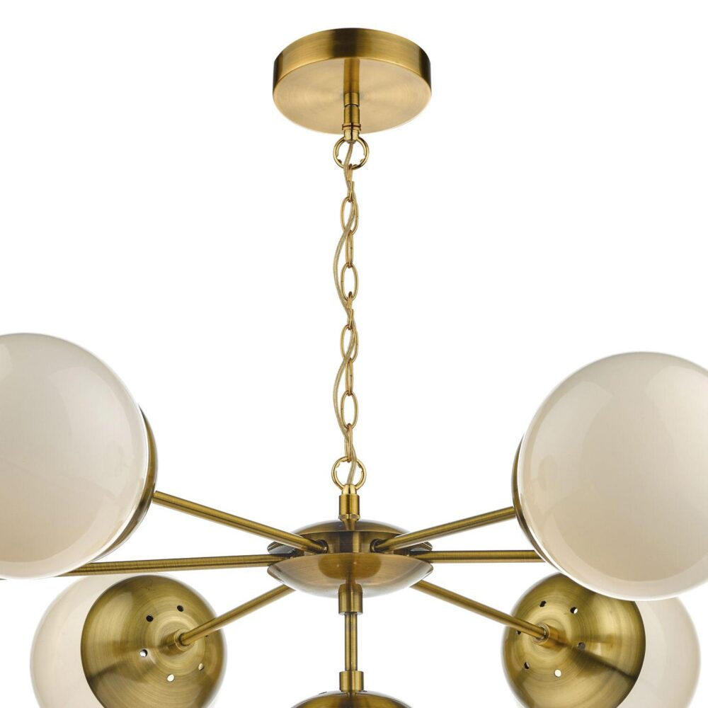 7 Light Brass Chandelier with Globes Chandeliers