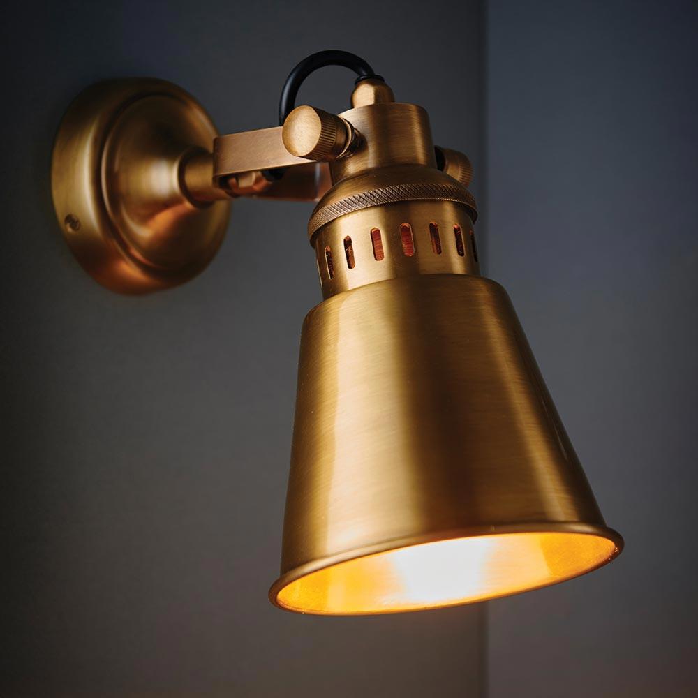 Solid Antique Brass Wall Light Spotlights