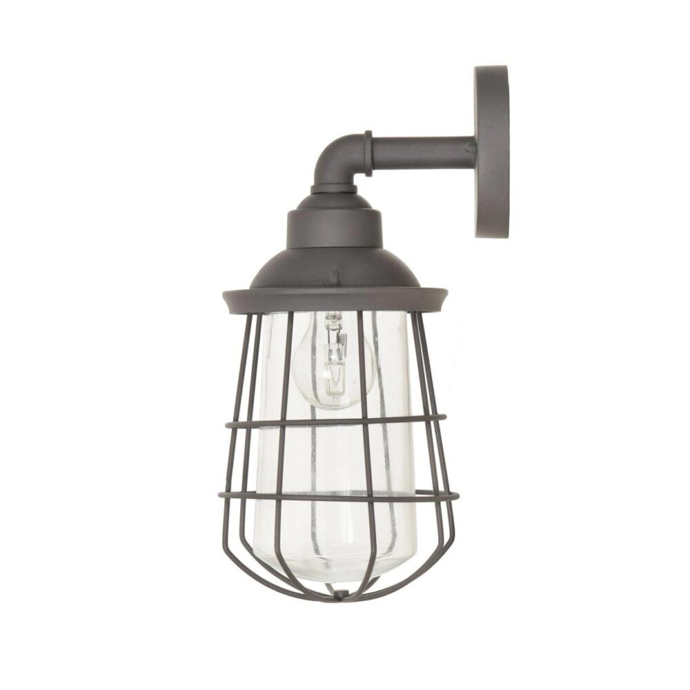 Grey Outdoor Cage Wall Light Outdoor