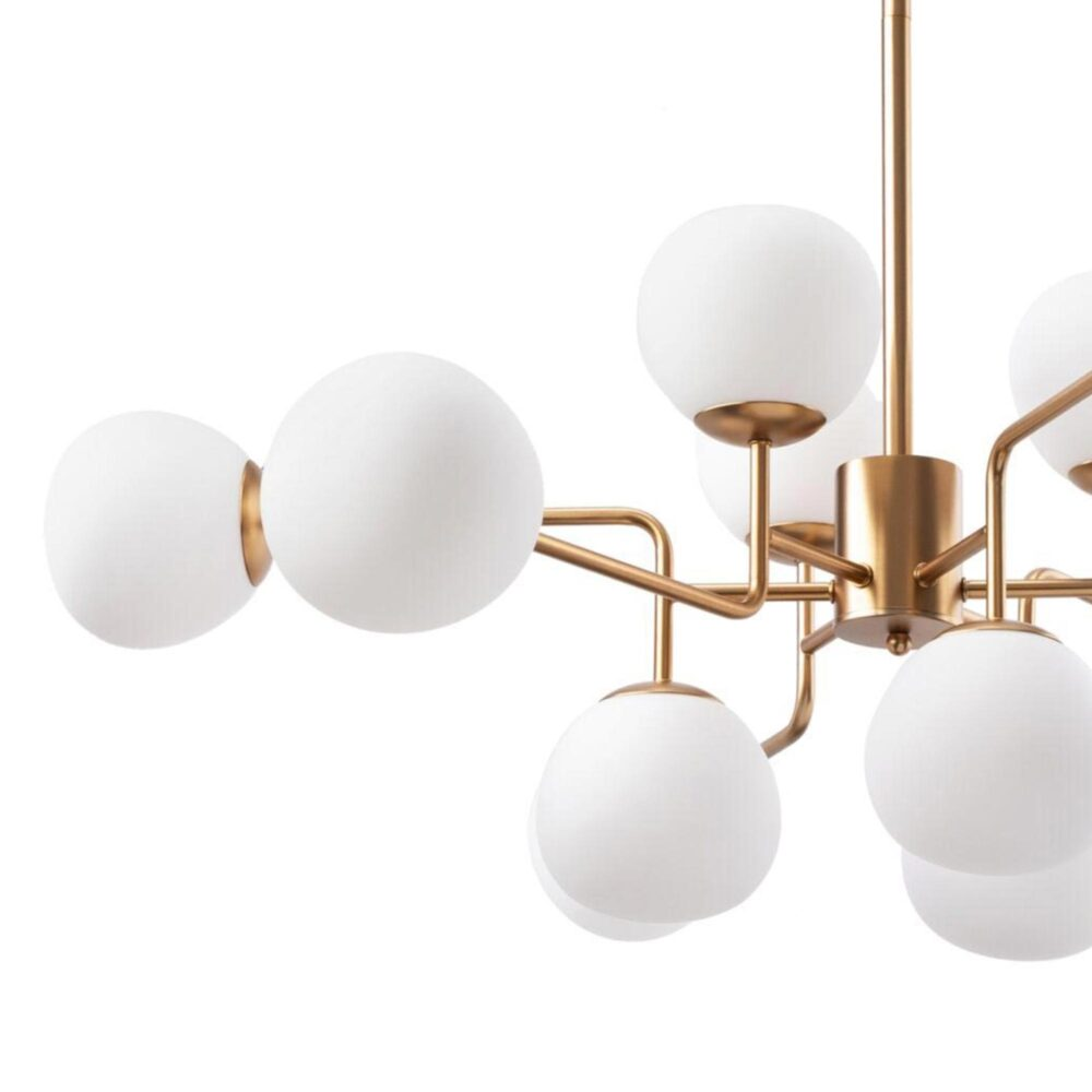 12 Light Opal Globe Chandelier Chandeliers