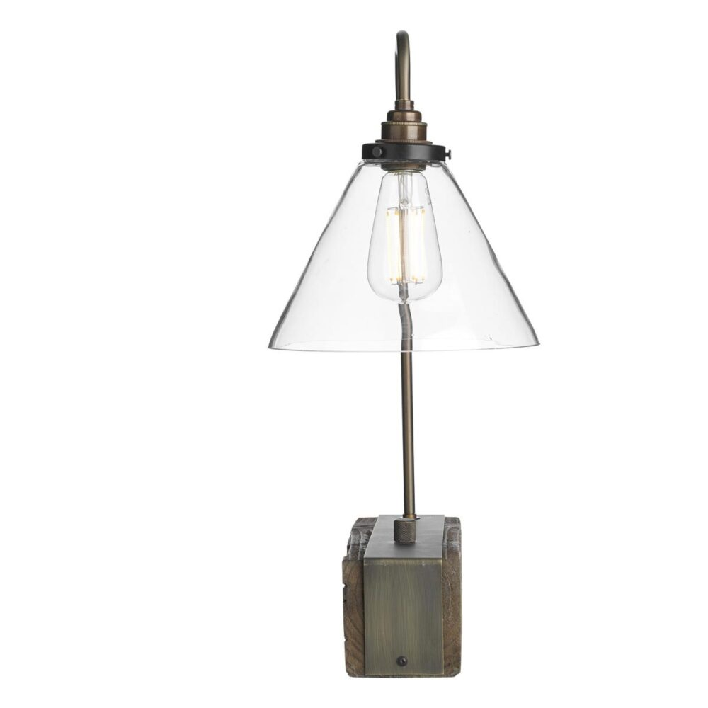 Wood Clear Glass Table Lamp Table Lamps
