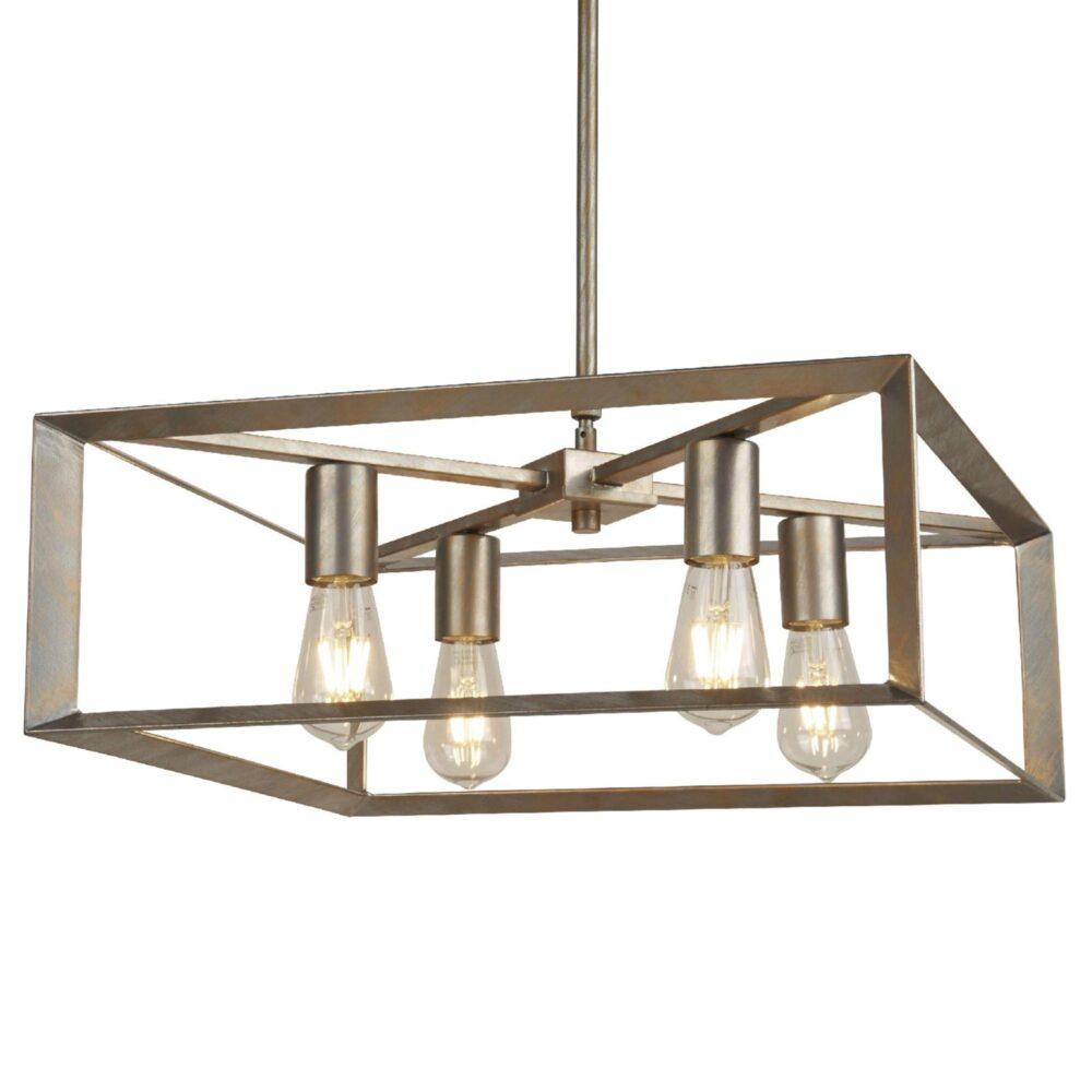 Gold 4 Light Cage Pendant Flush & Semi