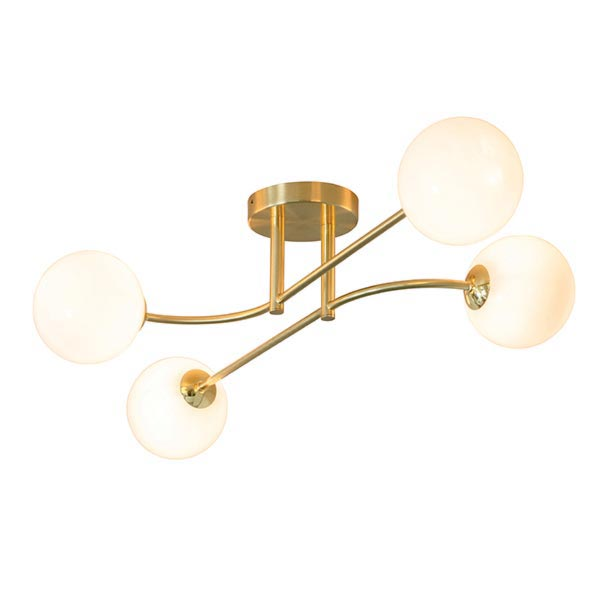 Brass 5 Light Semi Flush with Globes Flush & Semi