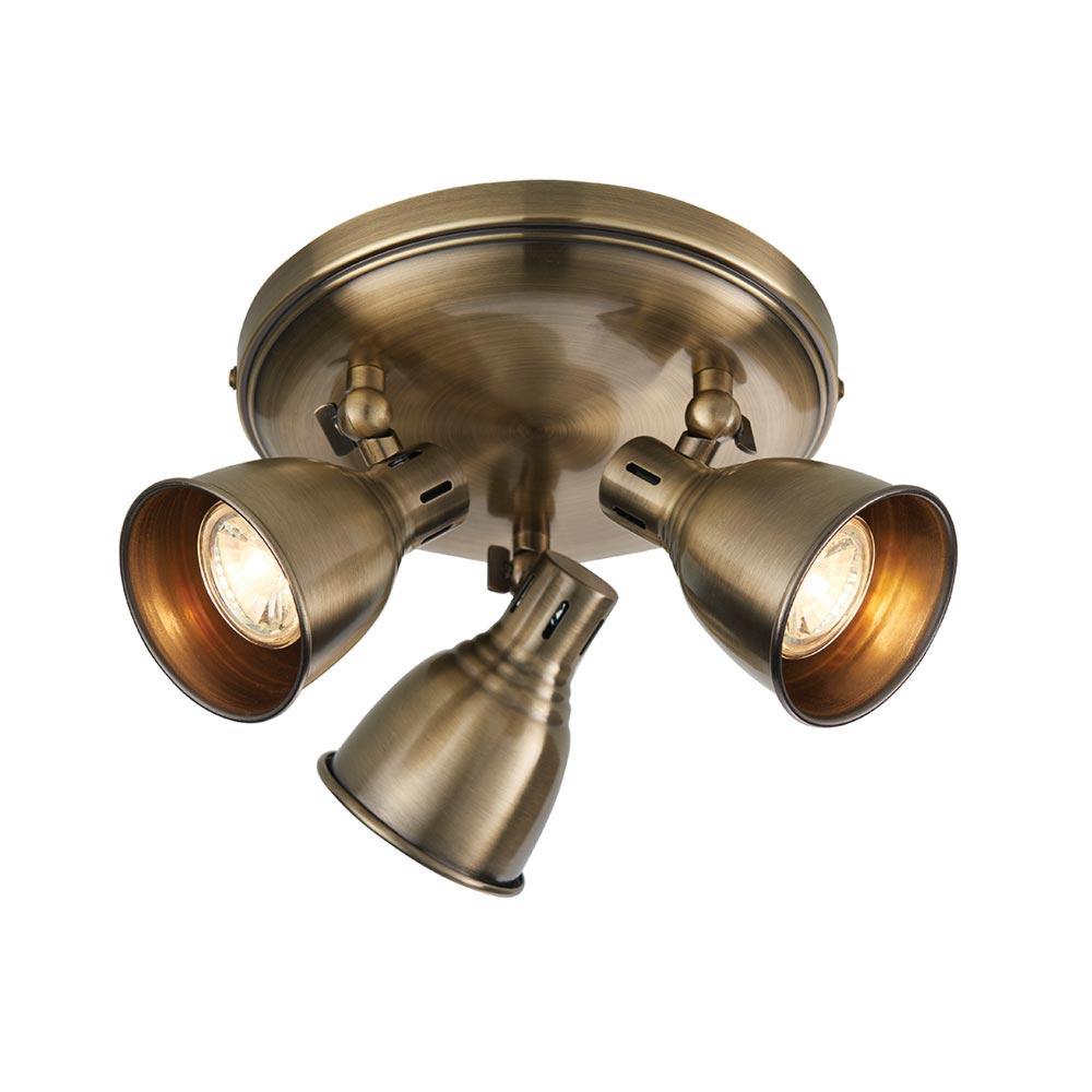 Vintage Brass 3 Light Spotlight Plate Spotlights