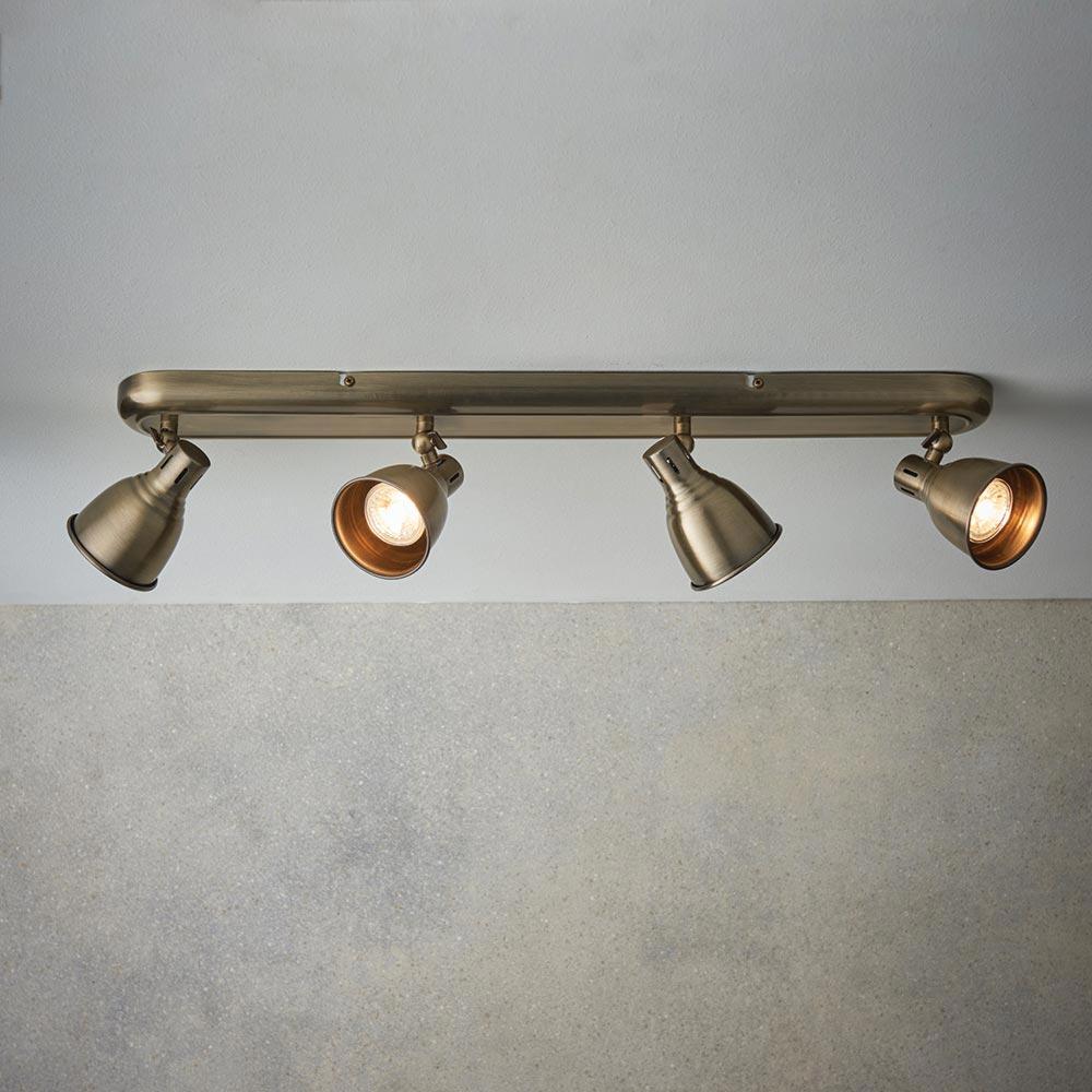 Vintage Brass 4 Light Spotlight Bar Spotlights