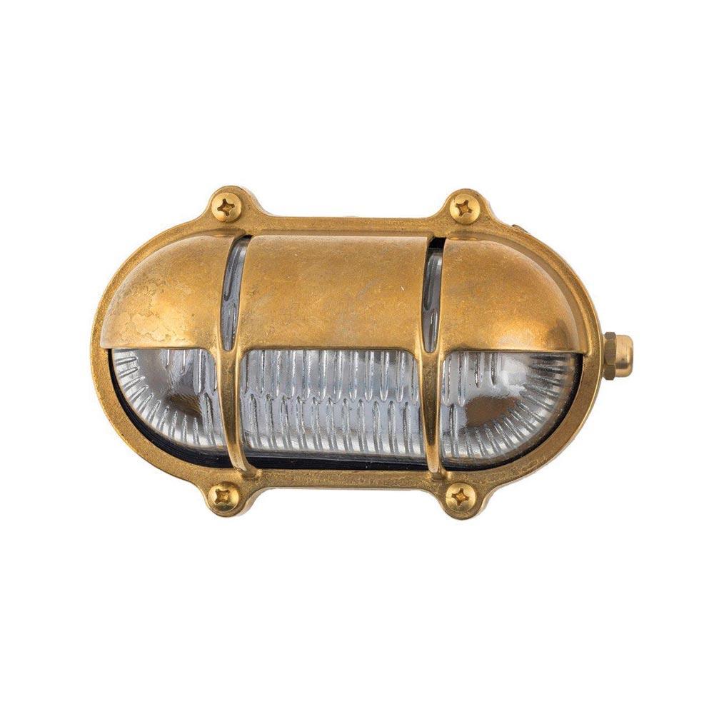 Oval Brass Bulkhead Light With Eyelid Shield Bulkheads