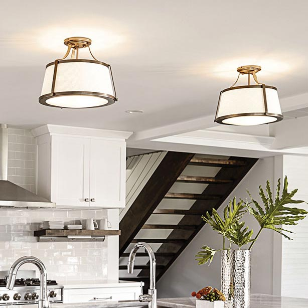 Semi Flush with Clear Glass Ceiling