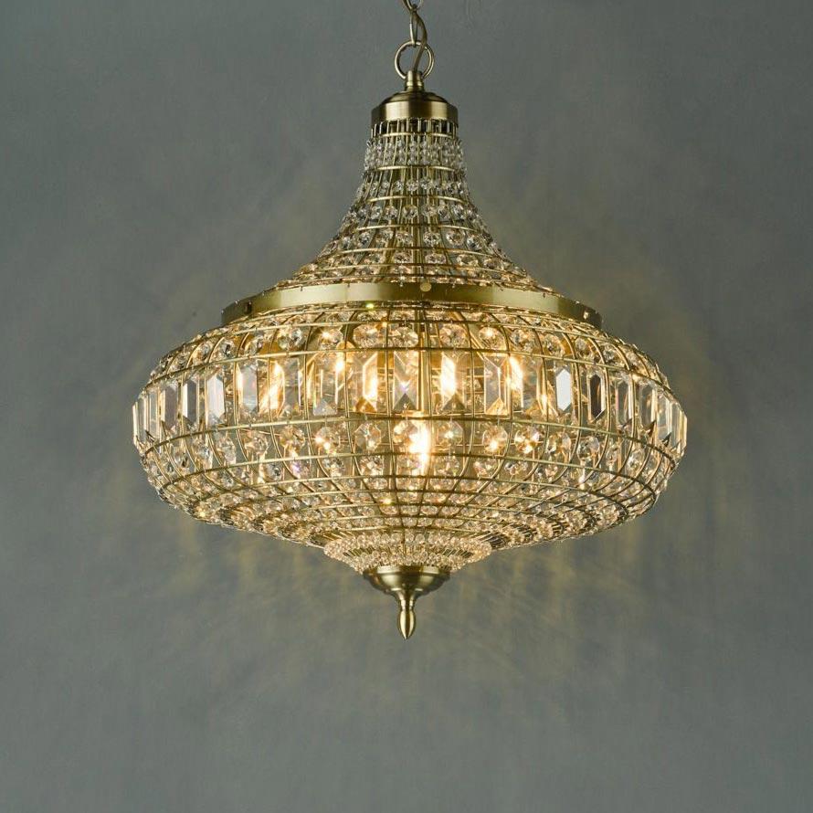 6 Light Antique Brass Crystal Pendant Pendants