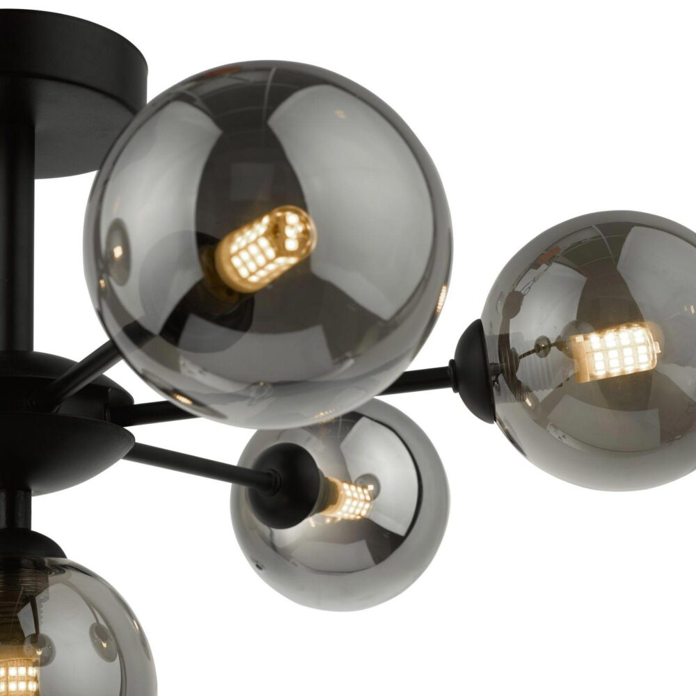 7 Light Matt Black Smoked Glass Chandelier Chandeliers