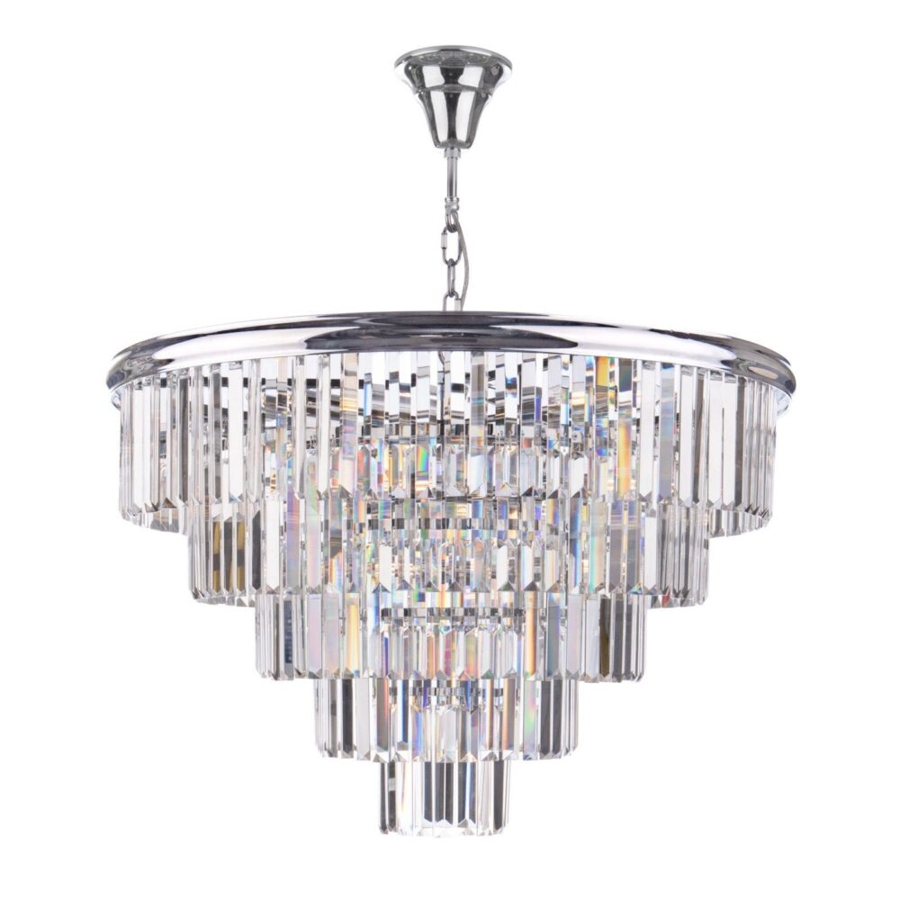 12 Light Polished Chrome Crystals Chandelier Chandeliers