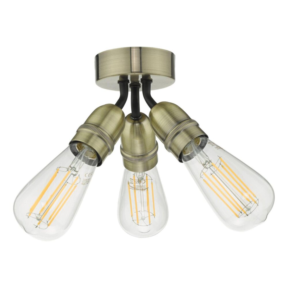 3 Light Antique Brass Matt Black Semi Flush Flush & Semi