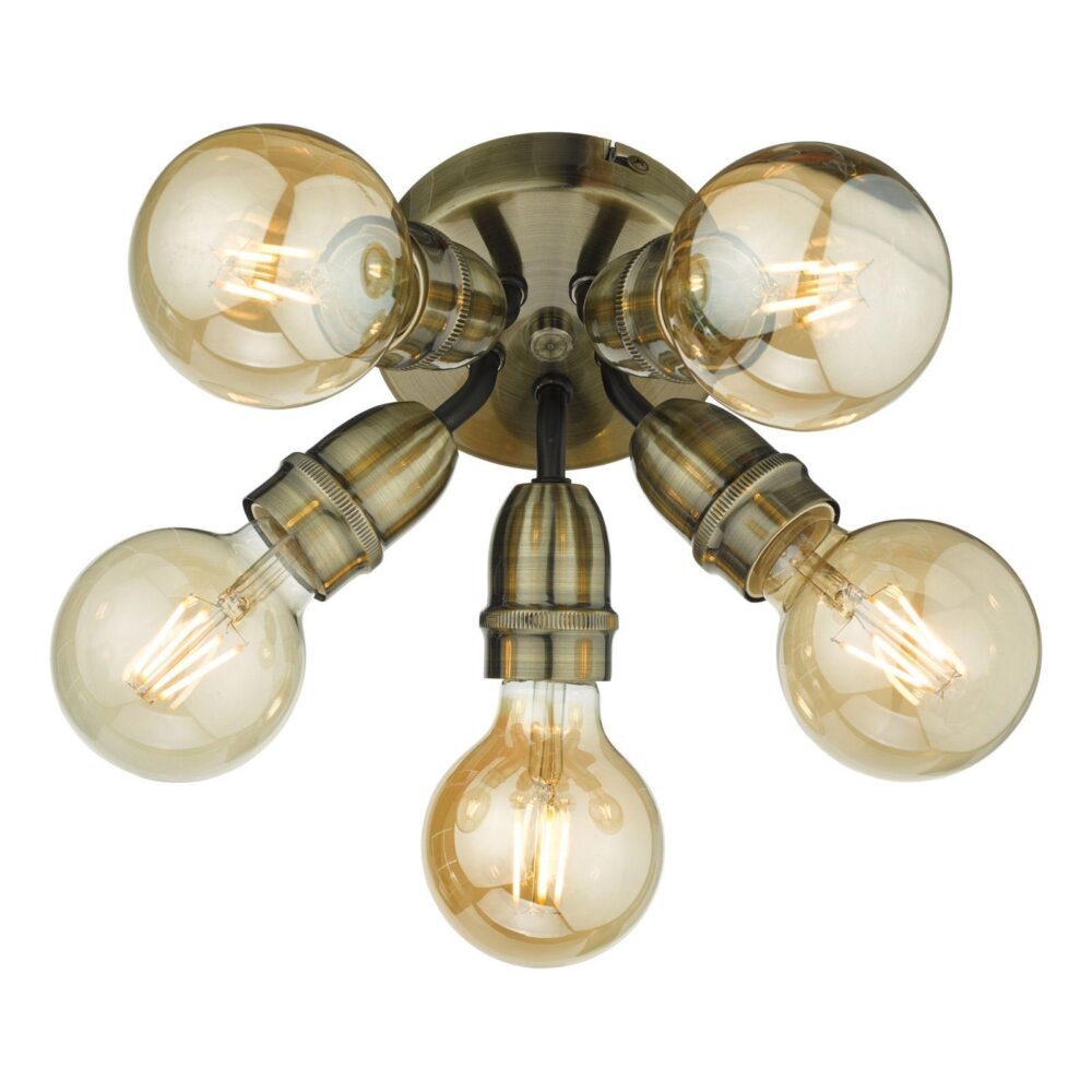 5 Light Antique Brass Matt Black Semi Flush Flush & Semi
