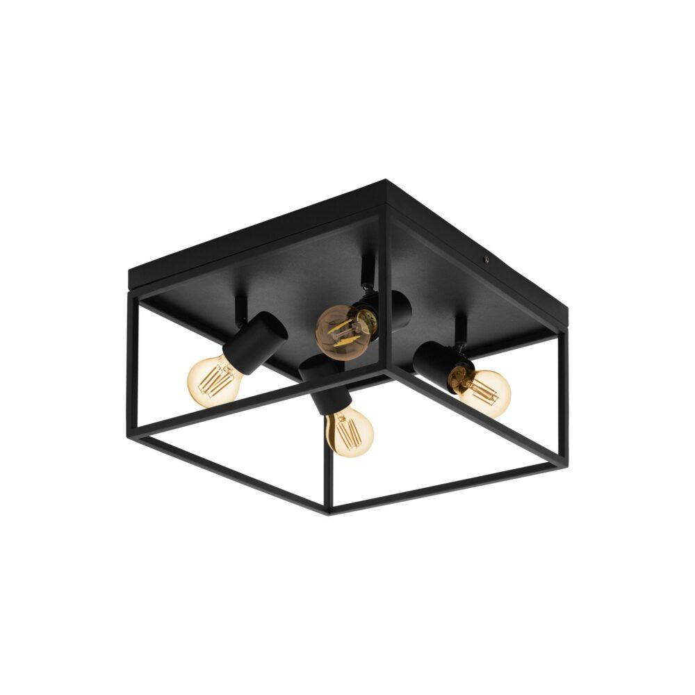 1 Light Black Ceiling Light Flush & Semi