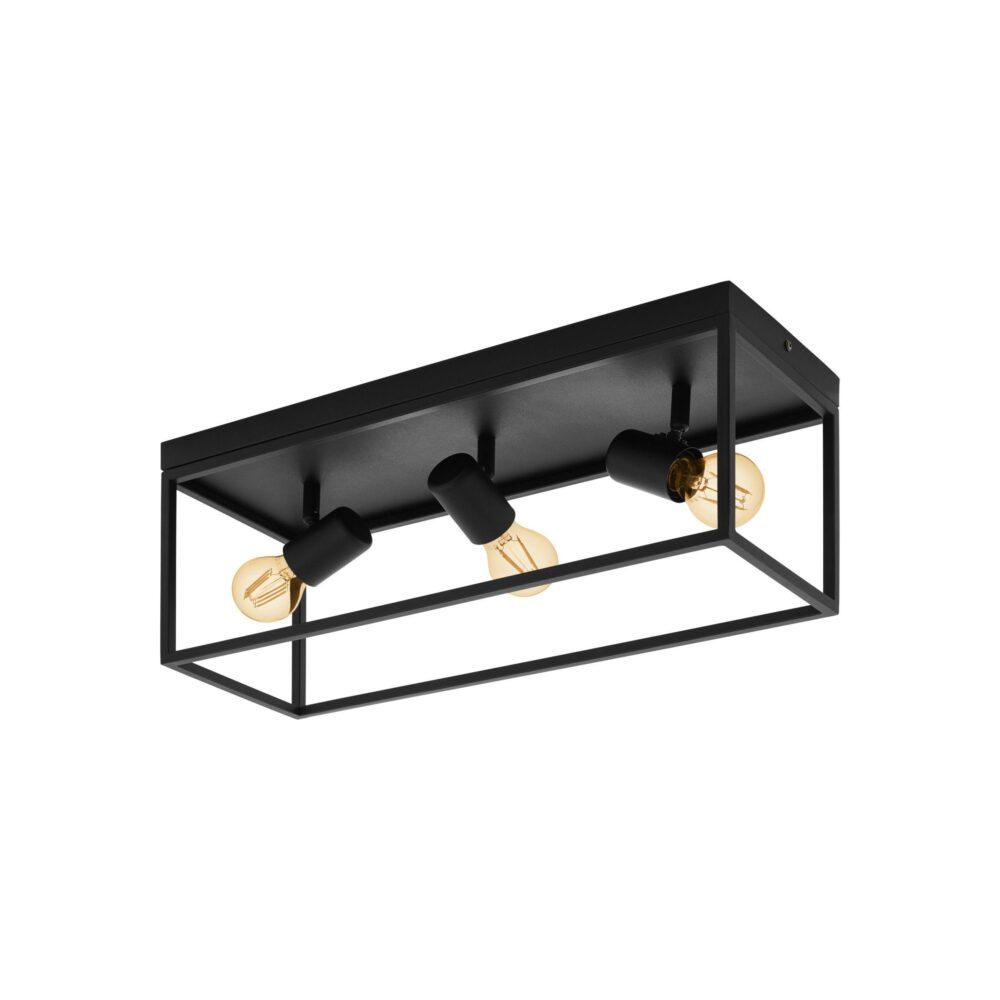 3 Light Black Ceiling Light Flush & Semi