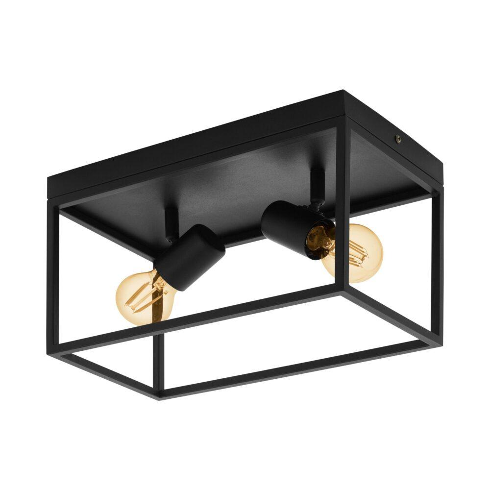 2 Light Black Ceiling Light Flush & Semi