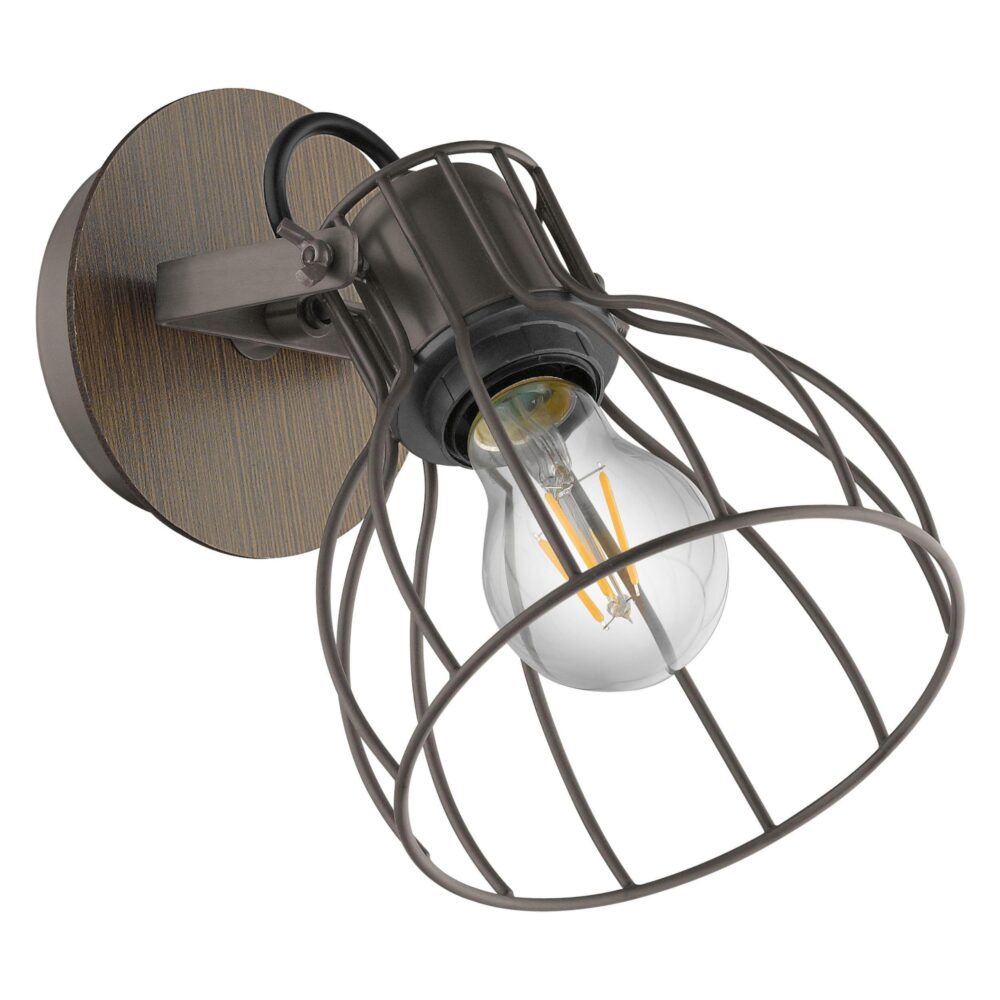 1 Light Black Natural Wood Spotlight Spotlights