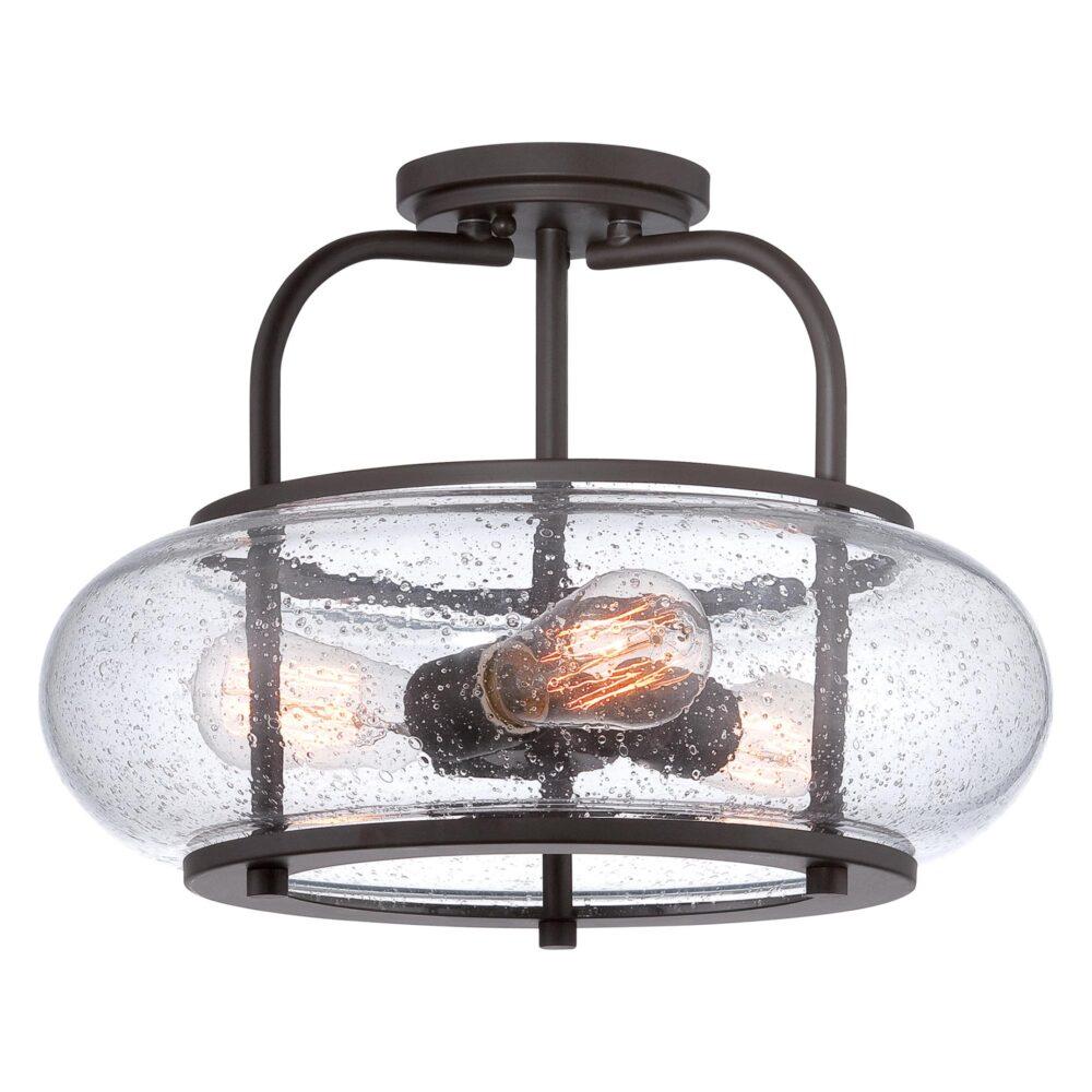 3 Light Bronze Seeded Glass Semi Flush Flush & Semi