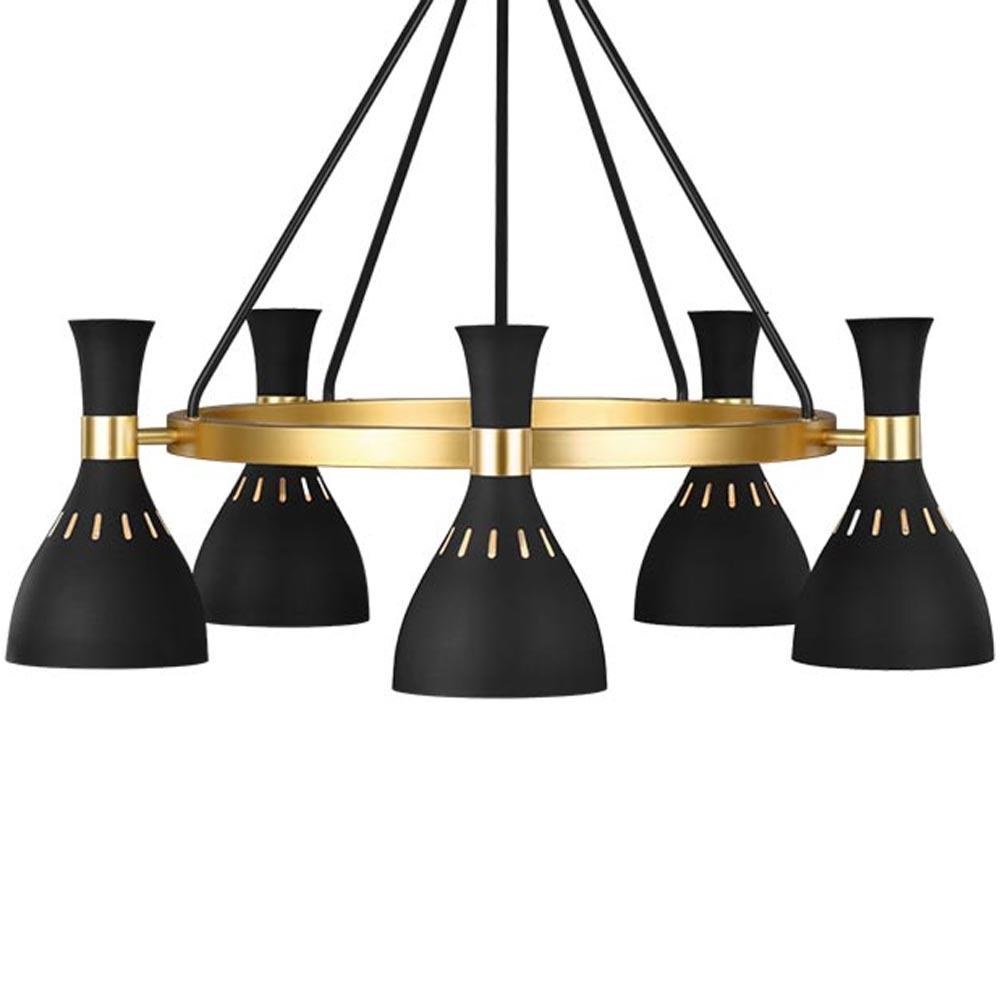 6 Light Matt Black Gold Chandelier Chandeliers