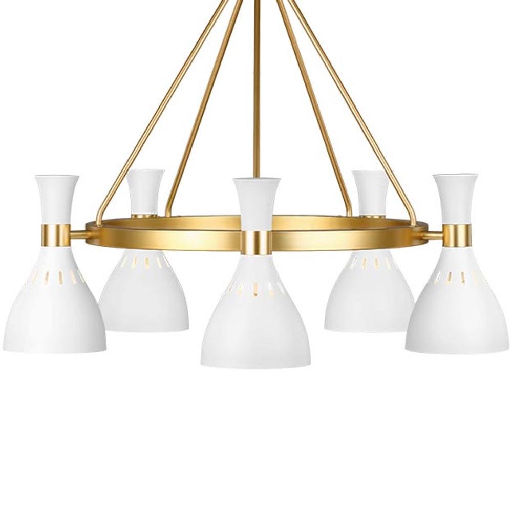 6 Light Matt White Gold Chandelier Chandeliers