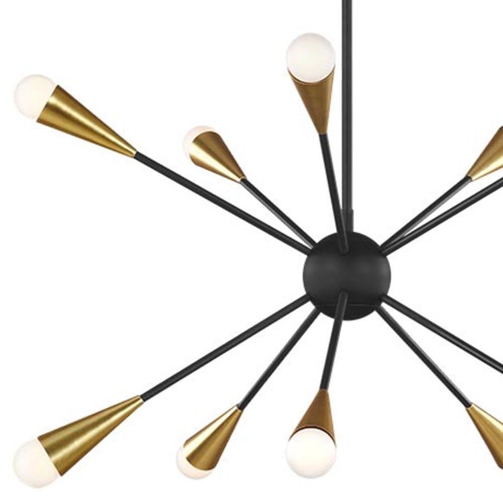 10 Light Burnished Brass Matt Black Chandelier Chandeliers