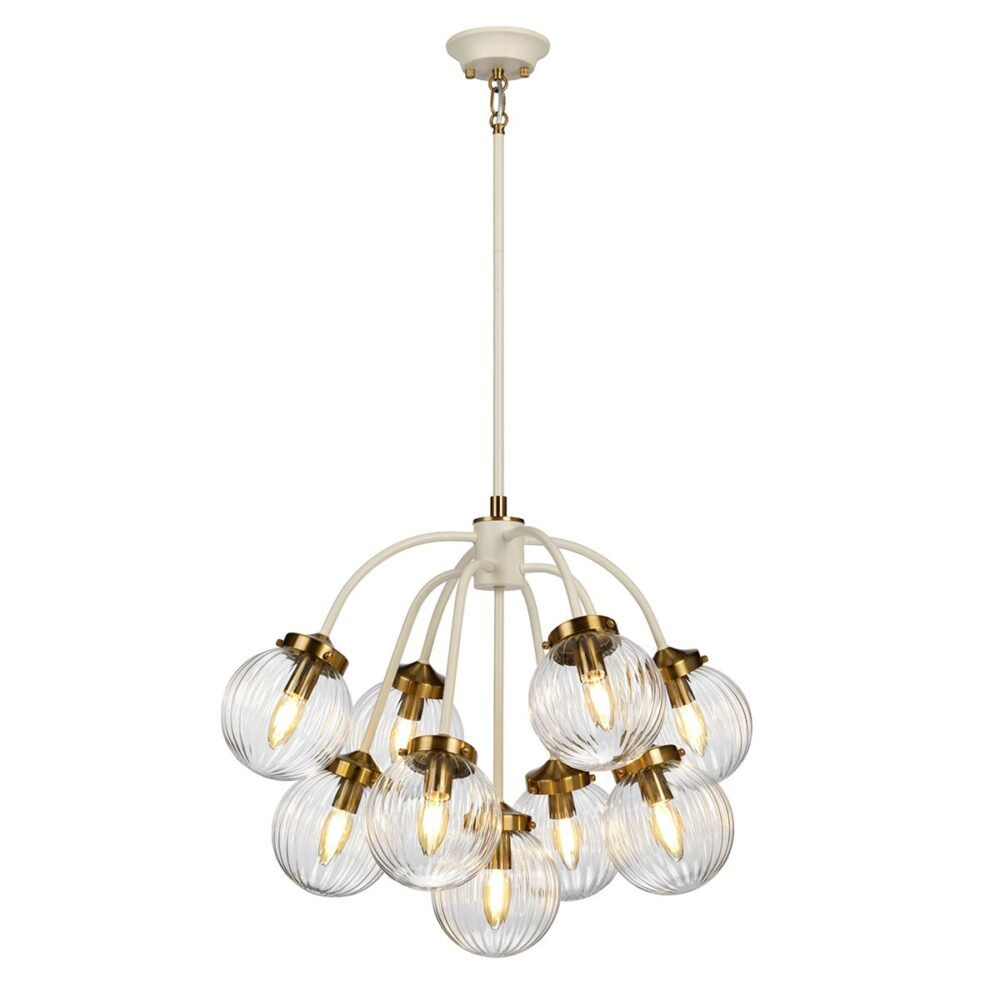9 Light Cream Aged Brass Prismatic Glass Chandelier Chandeliers