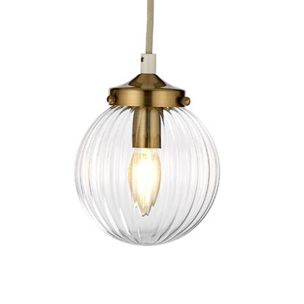 1 Light Cream Aged Brass Prismatic Glass Pendant Pendants