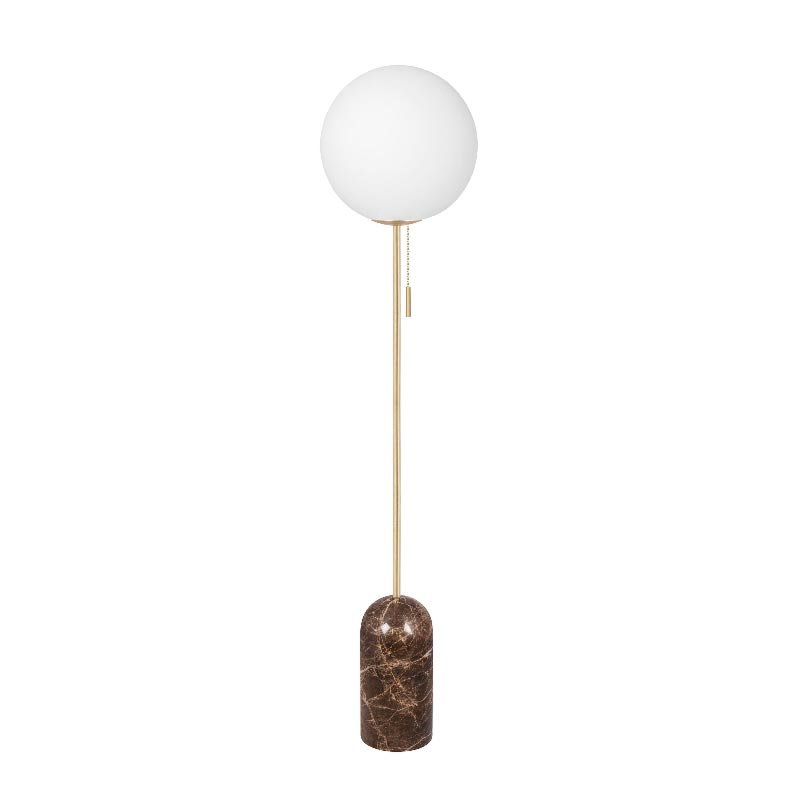 1 Light Brown Marble Satin Brass Opal Glass Floor Lamp Floor Lamps