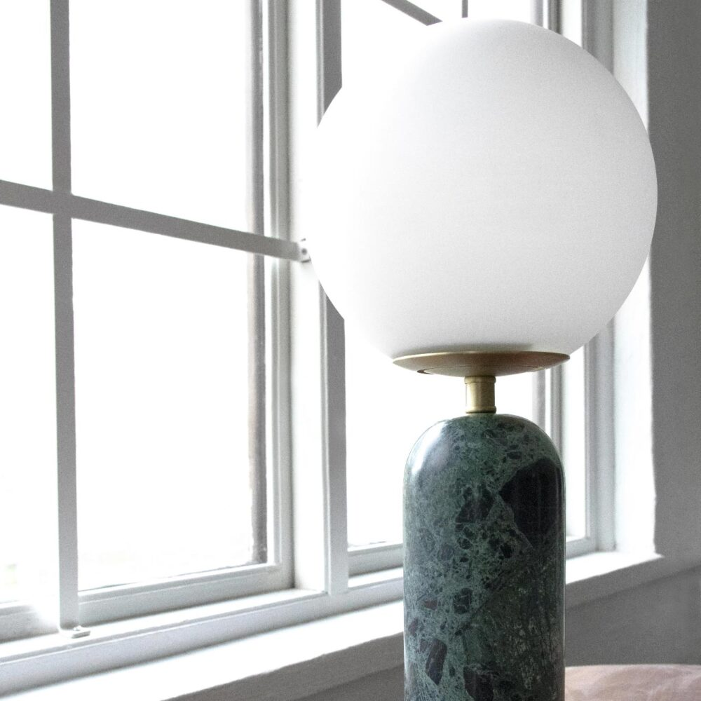 1 Light Green Marble Satin Brass Opal Glass Table Lamp Table Lamps