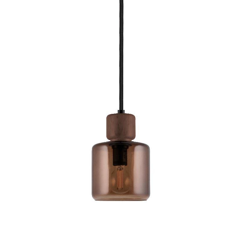 1 Light Brown Glass Wood Natural Pendant Pendants