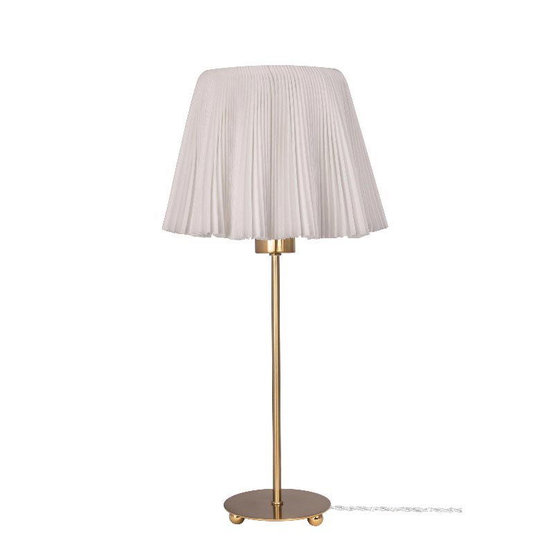 1 Light White Fabric Brushed Brass Table Lamp Table Lamps