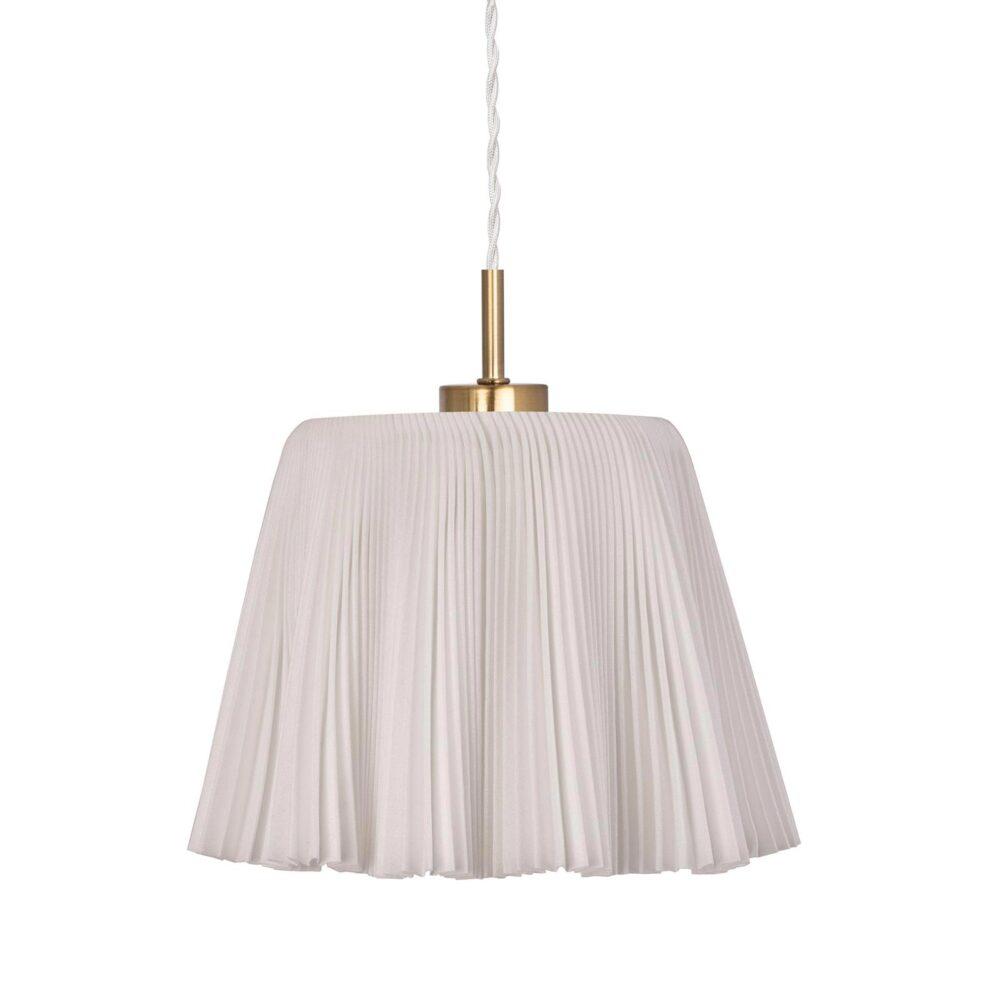1 Light White Fabric Brushed Brass Pendant Pendants