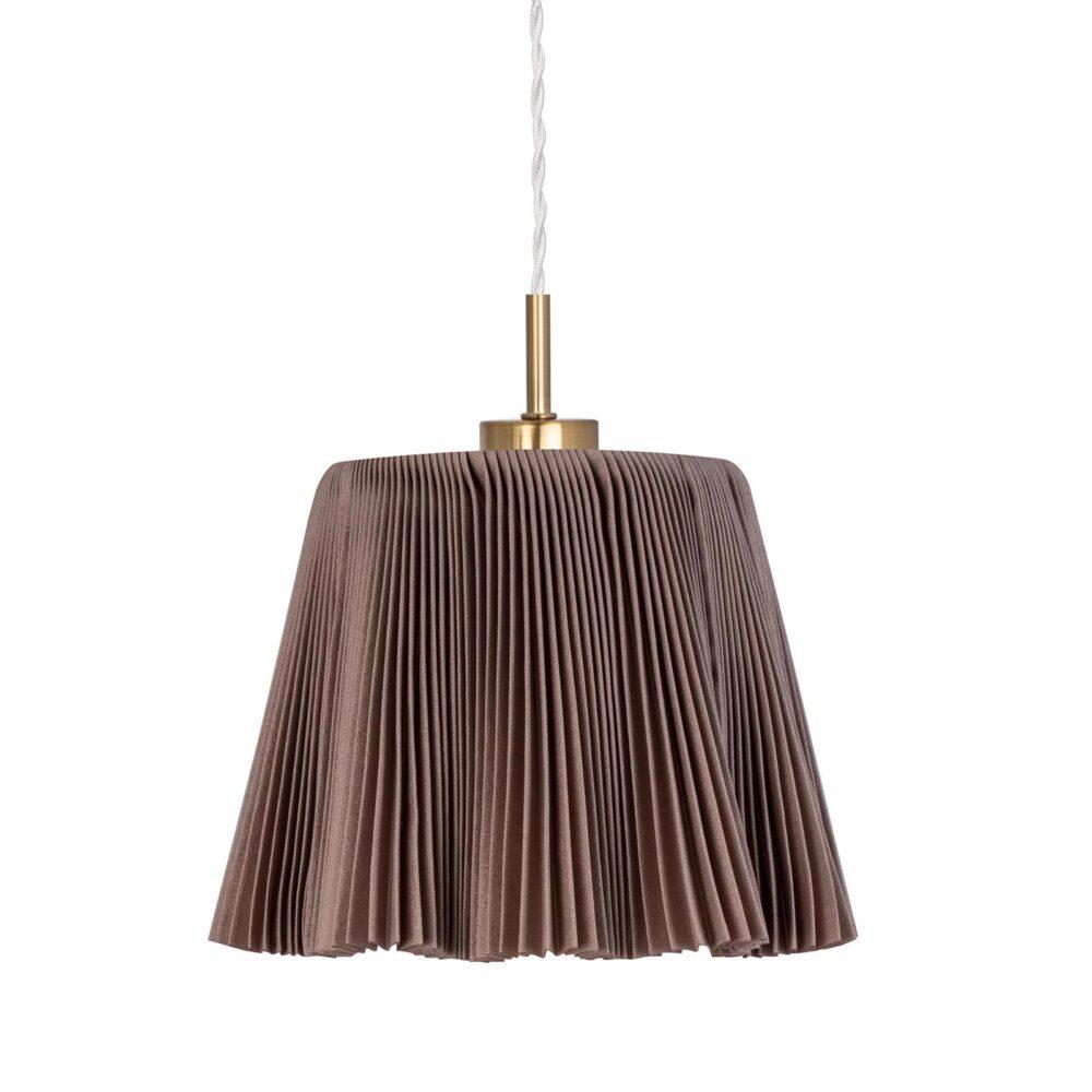 1 Light Brown Fabric Brushed Brass Pendant Pendants
