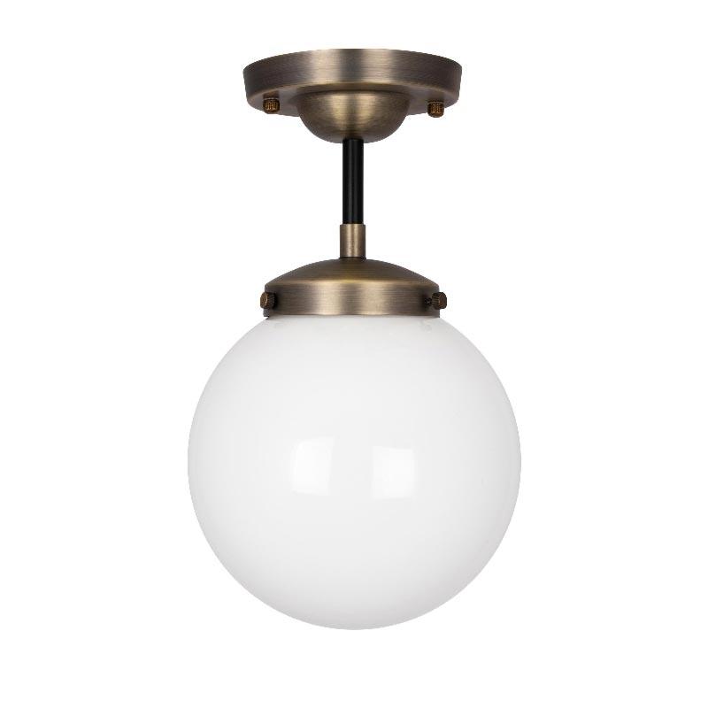 1 Light Antique Brass Opal Glass Black Flush Flush & Semi