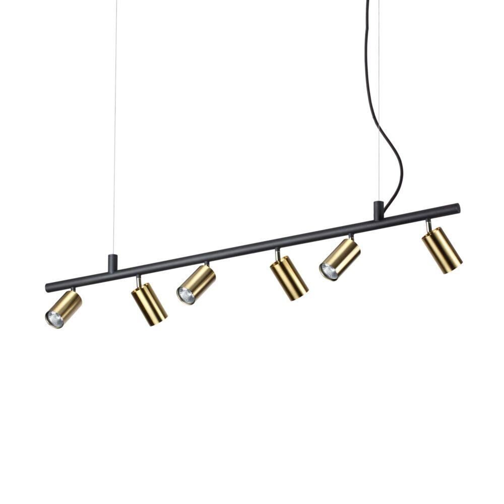 6 Light Matt Black  Satin Brass Pendant Spotlights Pendants