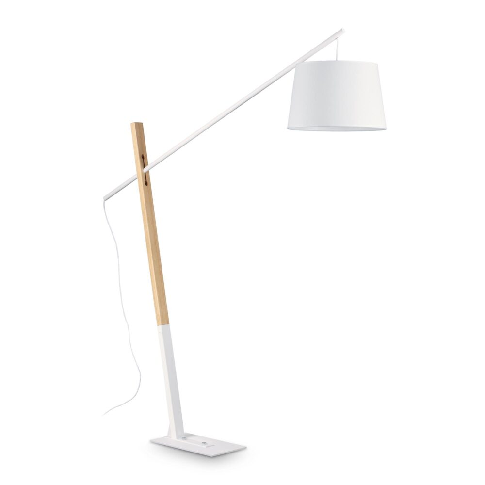 1 Light Natural Wood Fabric White Floor Lamp Floor Lamps