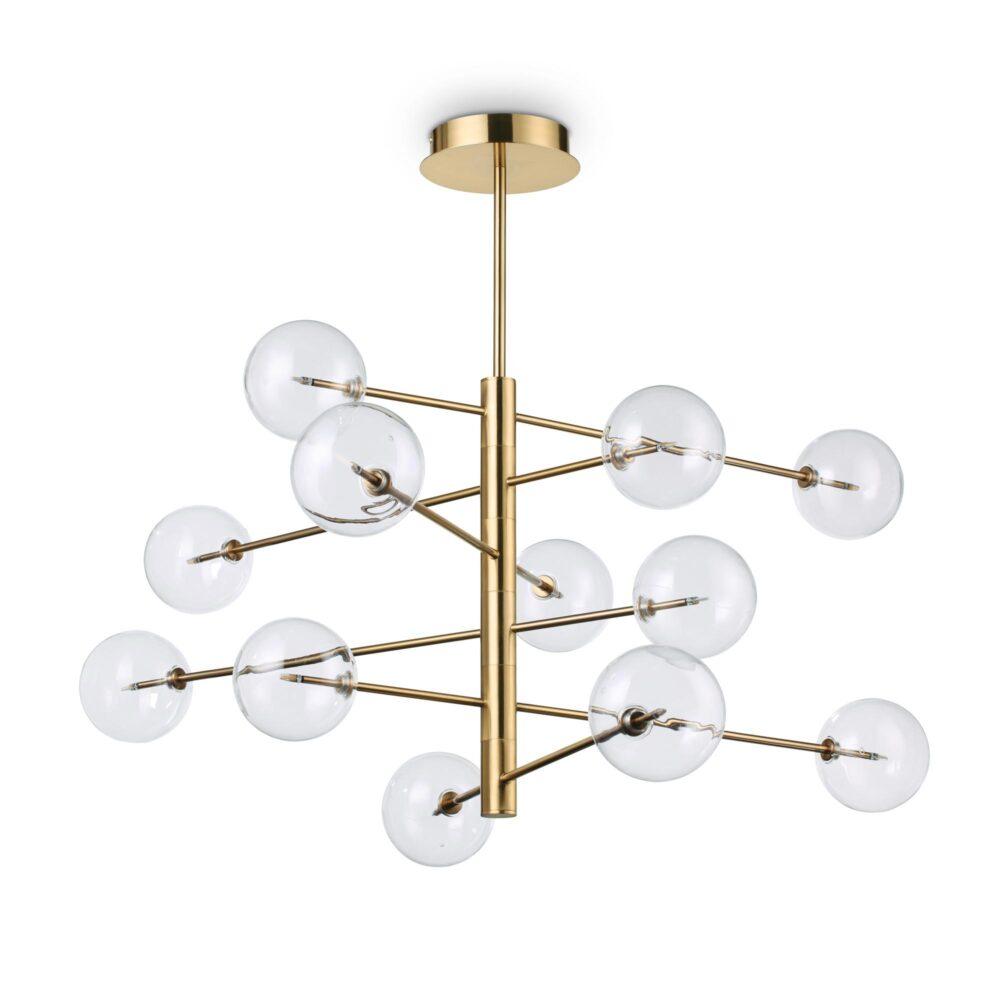 12 Light Polished Brass Ceiling Light